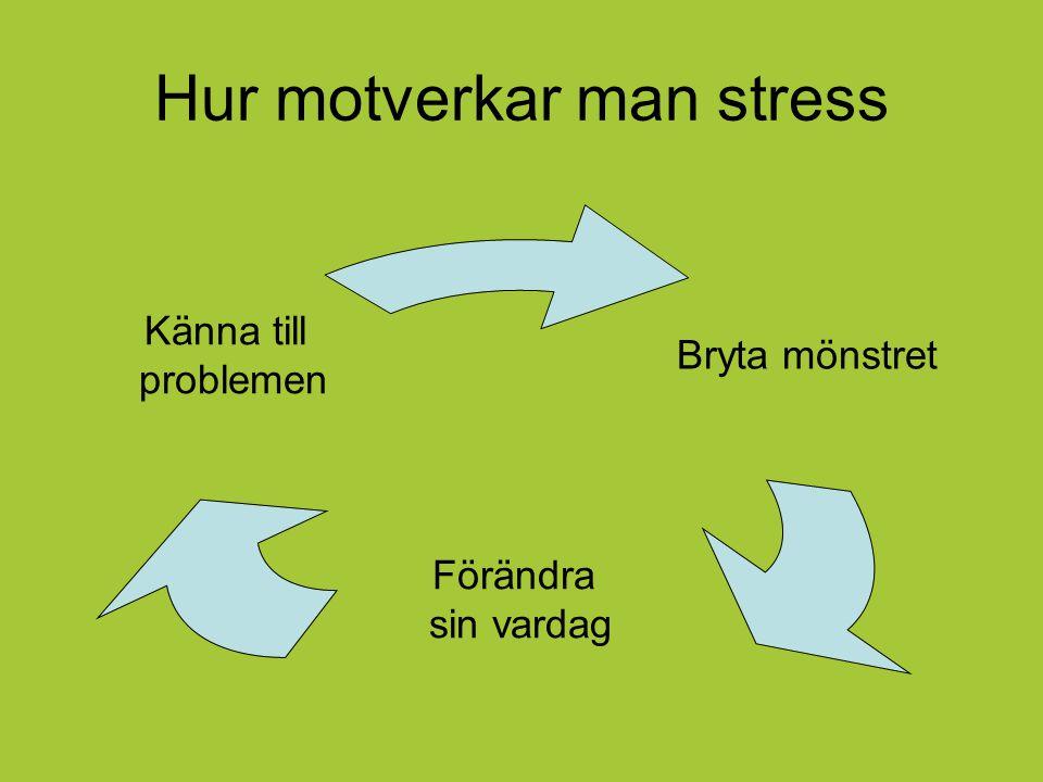 Hur motverkar man stress Bryta mönstret Förändra sin vardag Känna till problemen
