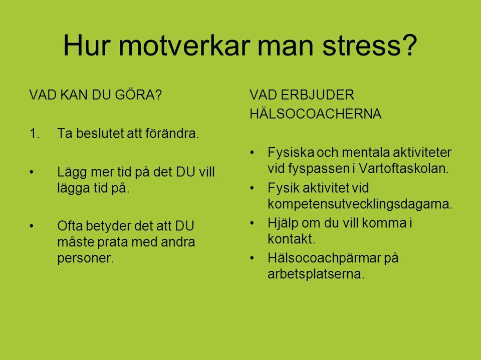 Hur motverkar man stress? VAD KAN DU GÖRA? 1.Ta beslutet att förändra. Lägg mer tid på det DU vill lägga tid på. Ofta betyder det att DU måste prata m