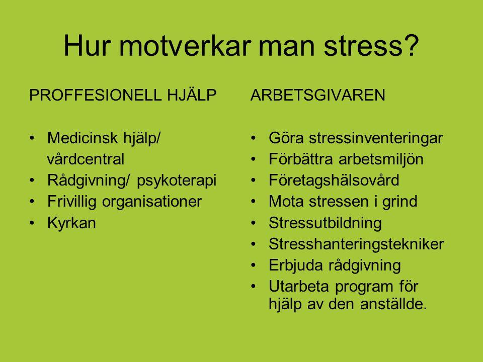Hur motverkar man stress? PROFFESIONELL HJÄLP Medicinsk hjälp/ vårdcentral Rådgivning/ psykoterapi Frivillig organisationer Kyrkan ARBETSGIVAREN Göra