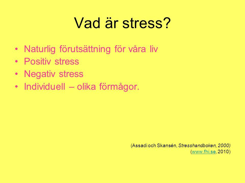 Vad är stress? Naturlig förutsättning för våra liv Positiv stress Negativ stress Individuell – olika förmågor. (Assadi och Skansén, Stresshandboken, 2