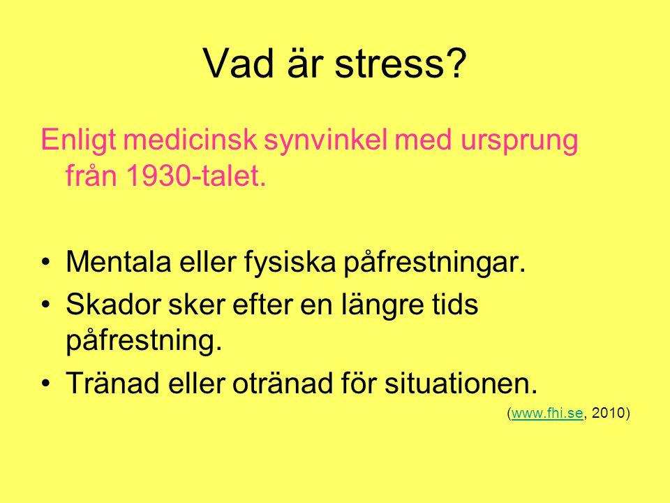Vad är stress? Enligt medicinsk synvinkel med ursprung från 1930-talet. Mentala eller fysiska påfrestningar. Skador sker efter en längre tids påfrestn