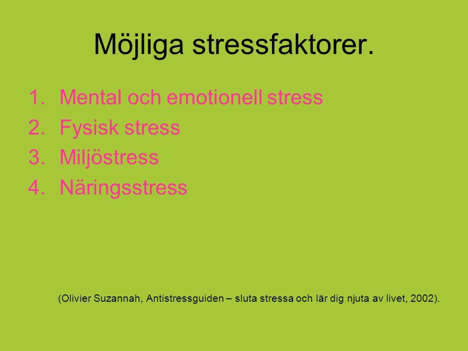 Möjliga stressfaktorer. 1.Mental och emotionell stress 2.Fysisk stress 3.Miljöstress 4.Näringsstress (Olivier Suzannah, Antistressguiden – sluta stres