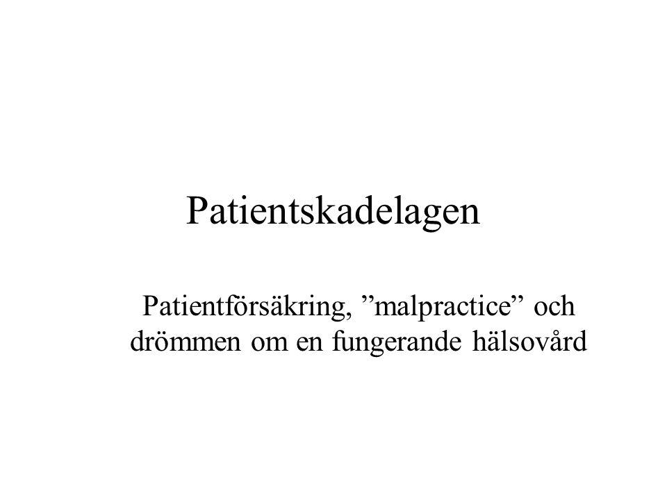 Patientskadelagen 1996:799 Ger skadade patienter rätt till ersättning ur särskild försäkring, patientförsäkring (1§).