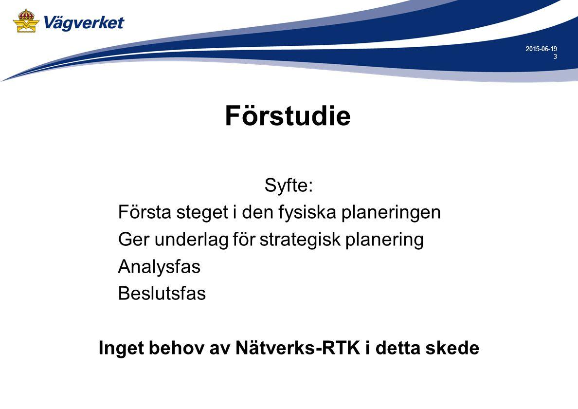 3 2015-06-19 Förstudie Syfte: Första steget i den fysiska planeringen Ger underlag för strategisk planering Analysfas Beslutsfas Inget behov av Nätverks-RTK i detta skede