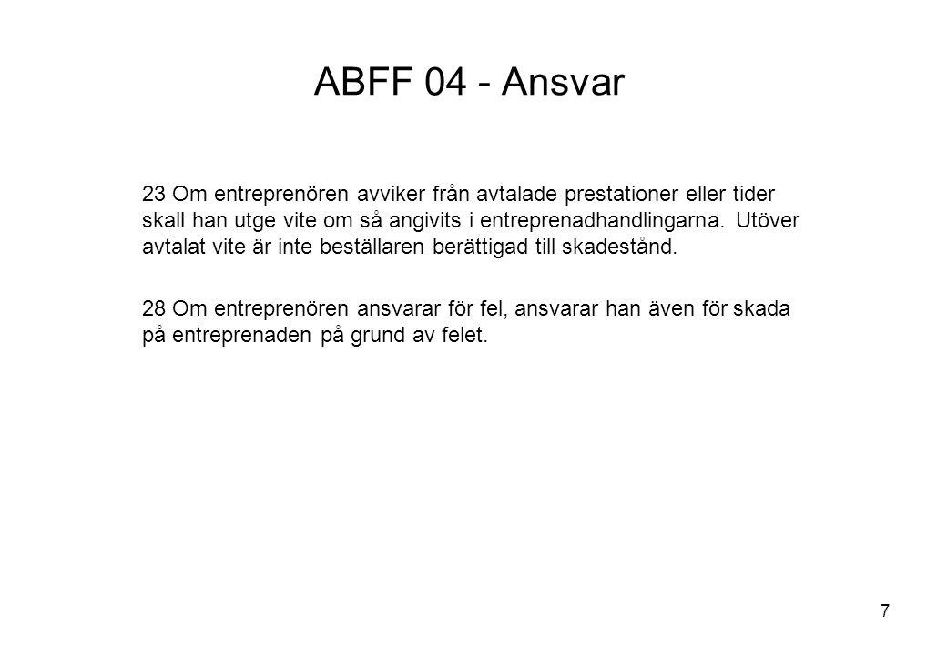 7 ABFF 04 - Ansvar 23 Om entreprenören avviker från avtalade prestationer eller tider skall han utge vite om så angivits i entreprenadhandlingarna. Ut