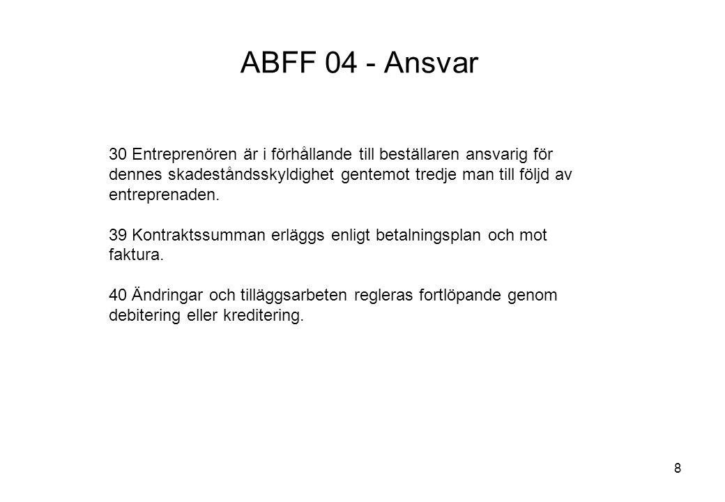8 ABFF 04 - Ansvar 30 Entreprenören är i förhållande till beställaren ansvarig för dennes skadeståndsskyldighet gentemot tredje man till följd av entr