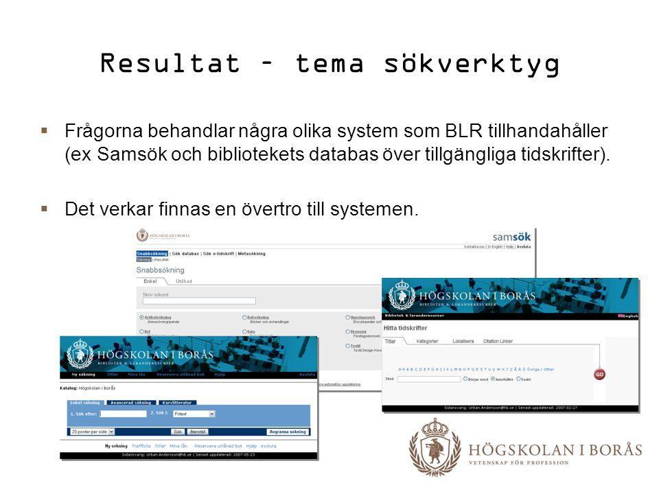 Resultat – tema sökverktyg  Frågorna behandlar några olika system som BLR tillhandahåller (ex Samsök och bibliotekets databas över tillgängliga tidsk
