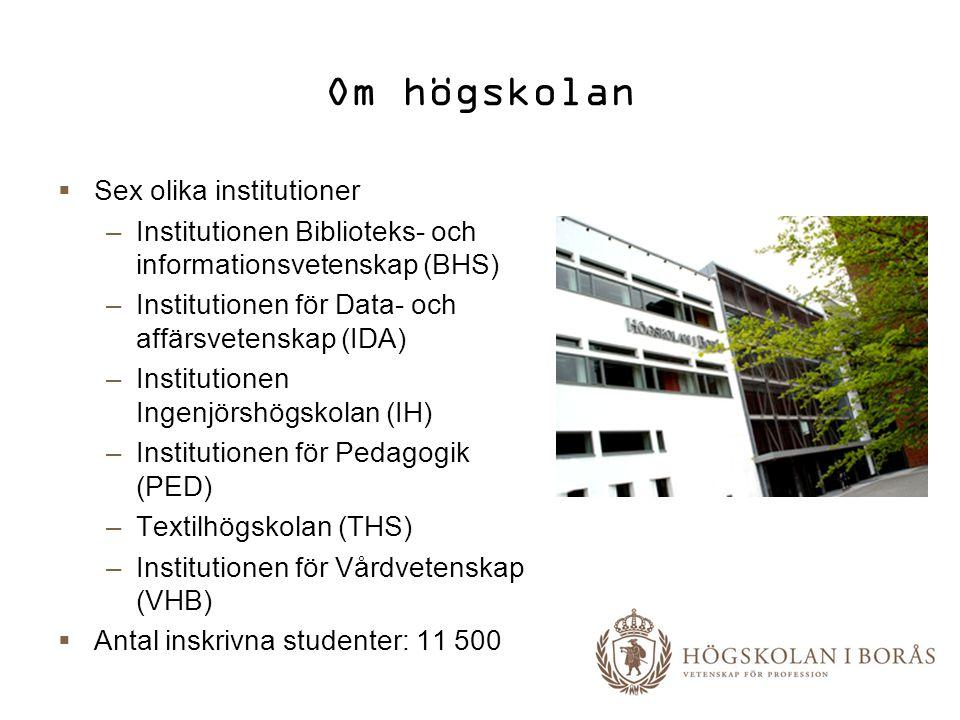 Om högskolan  Sex olika institutioner –Institutionen Biblioteks- och informationsvetenskap (BHS) –Institutionen för Data- och affärsvetenskap (IDA) –