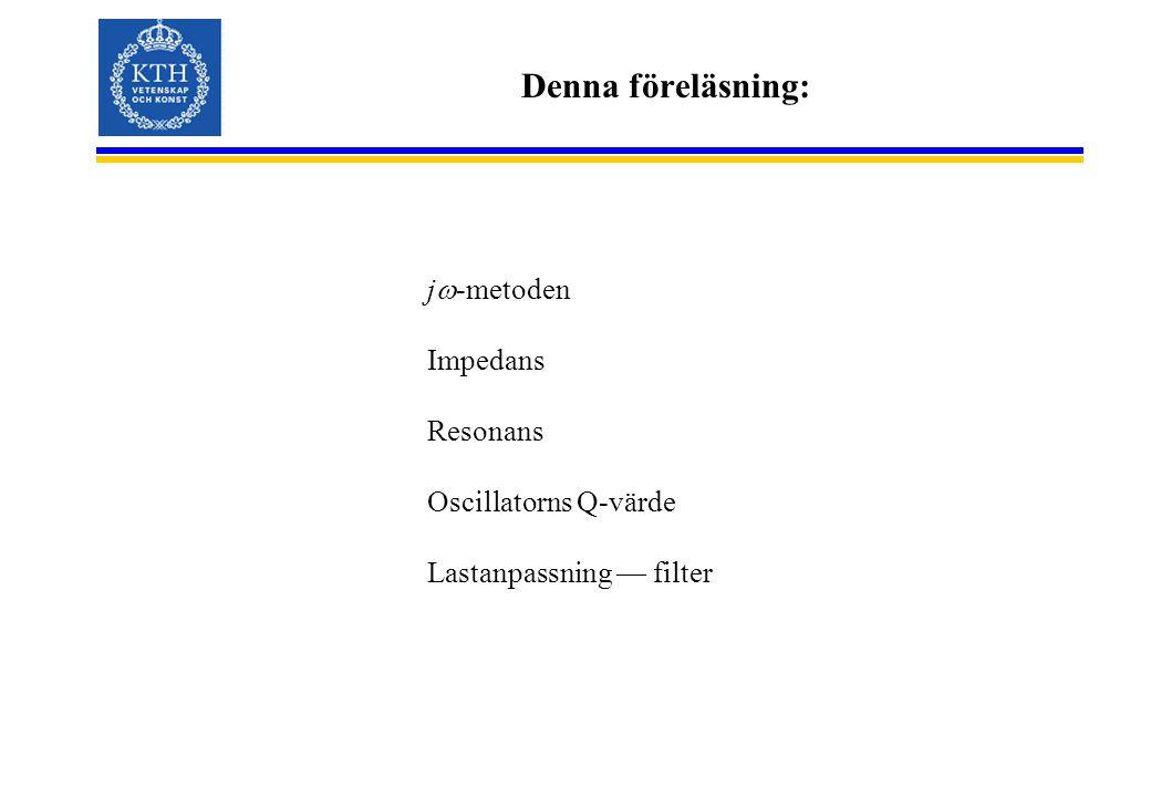 Denna föreläsning: j  -metoden Impedans Resonans Oscillatorns Q-värde Lastanpassning — filter