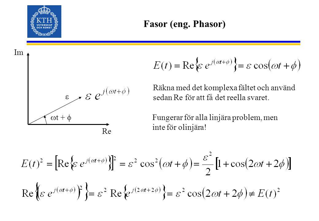 Fasor (eng. Phasor)   t +  Re Im Räkna med det komplexa fältet och använd sedan Re för att få det reella svaret. Fungerar för alla linjära problem,