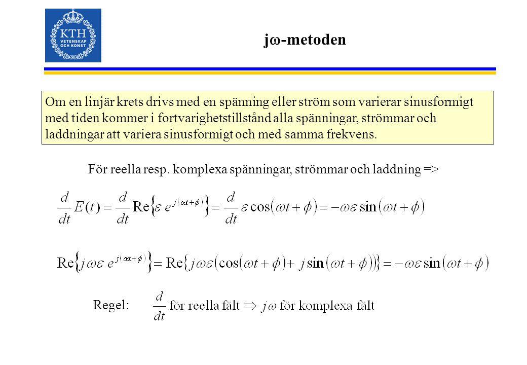 j  -metoden Om en linjär krets drivs med en spänning eller ström som varierar sinusformigt med tiden kommer i fortvarighetstillstånd alla spänningar,