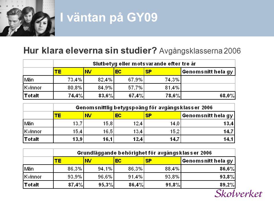 Hur klara eleverna sin studier Avgångsklasserna 2006 I väntan på GY09