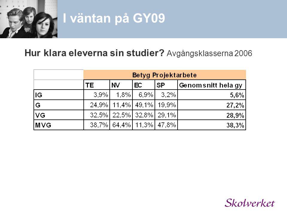 Hur klara eleverna sin studier? Avgångsklasserna 2006 I väntan på GY09