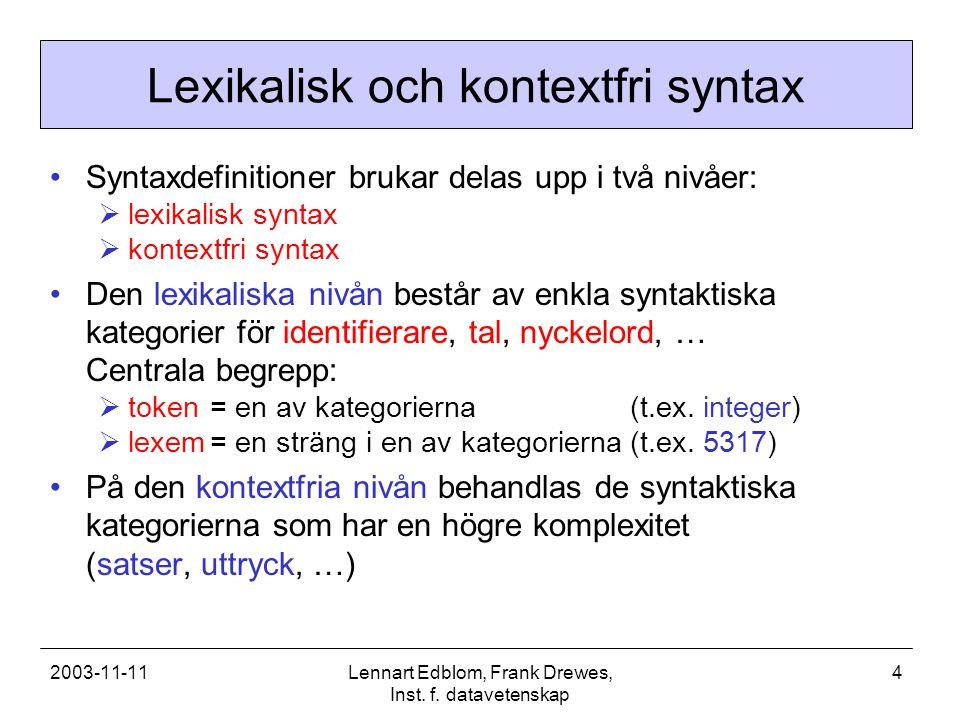 2003-11-11Lennart Edblom, Frank Drewes, Inst. f. datavetenskap 4 Lexikalisk och kontextfri syntax Syntaxdefinitioner brukar delas upp i två nivåer: 