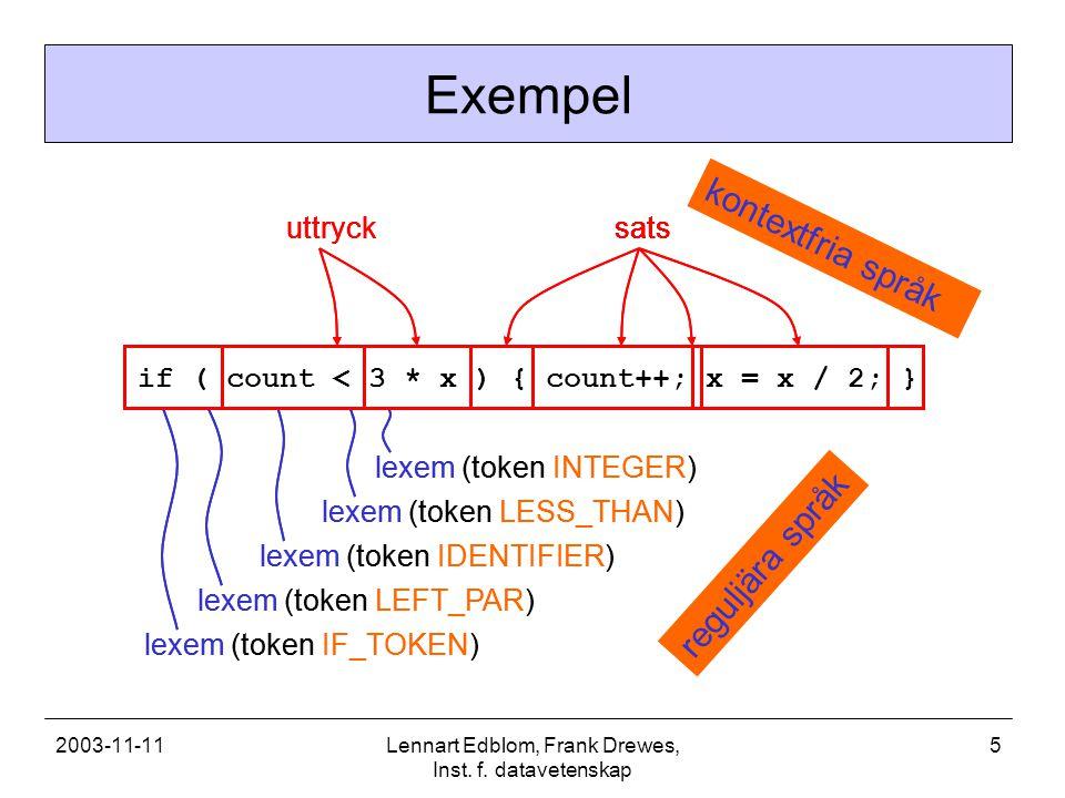 2003-11-11Lennart Edblom, Frank Drewes, Inst. f. datavetenskap 5 lexem (token IF_TOKEN) lexem (token LEFT_PAR) lexem (token IDENTIFIER) lexem (token L