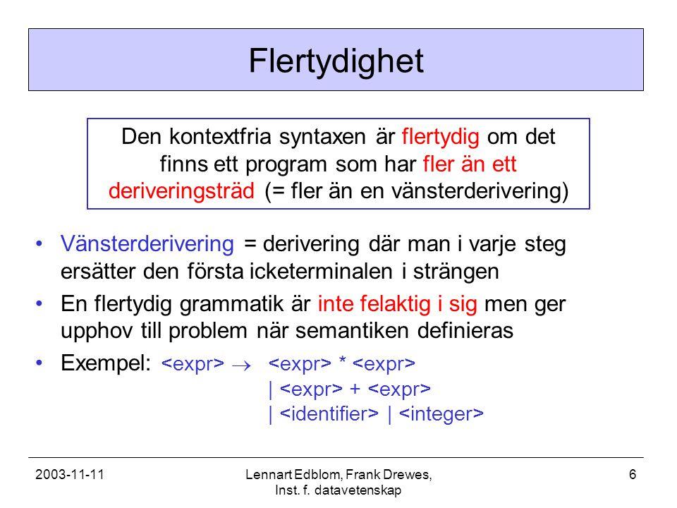 2003-11-11Lennart Edblom, Frank Drewes, Inst. f. datavetenskap 6 Flertydighet Den kontextfria syntaxen är flertydig om det finns ett program som har f