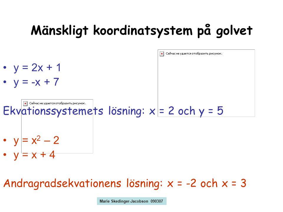 Mänskligt koordinatsystem på golvet y = 2x + 1 y = -x + 7 Ekvationssystemets lösning: x = 2 och y = 5 y = x 2 – 2 y = x + 4 Andragradsekvationens lösning: x = -2 och x = 3 Marie Skedinger-Jacobson 090307