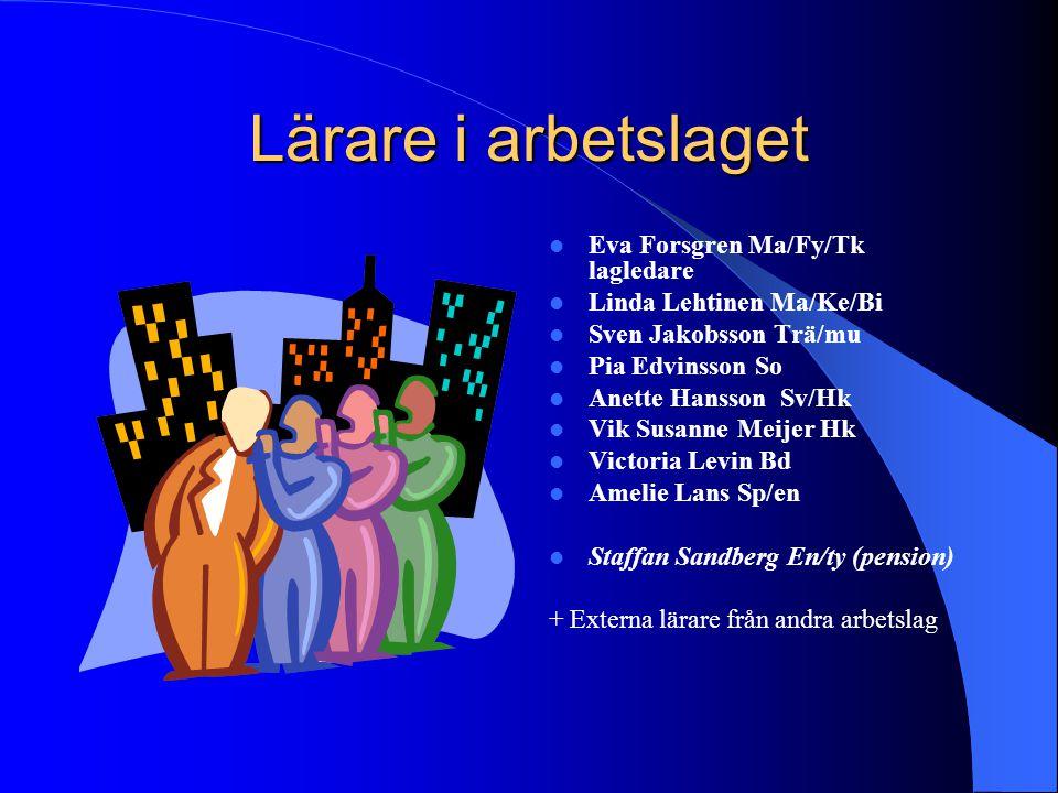 Lärare i arbetslaget Eva Forsgren Ma/Fy/Tk lagledare Linda Lehtinen Ma/Ke/Bi Sven Jakobsson Trä/mu Pia Edvinsson So Anette Hansson Sv/Hk Vik Susanne M