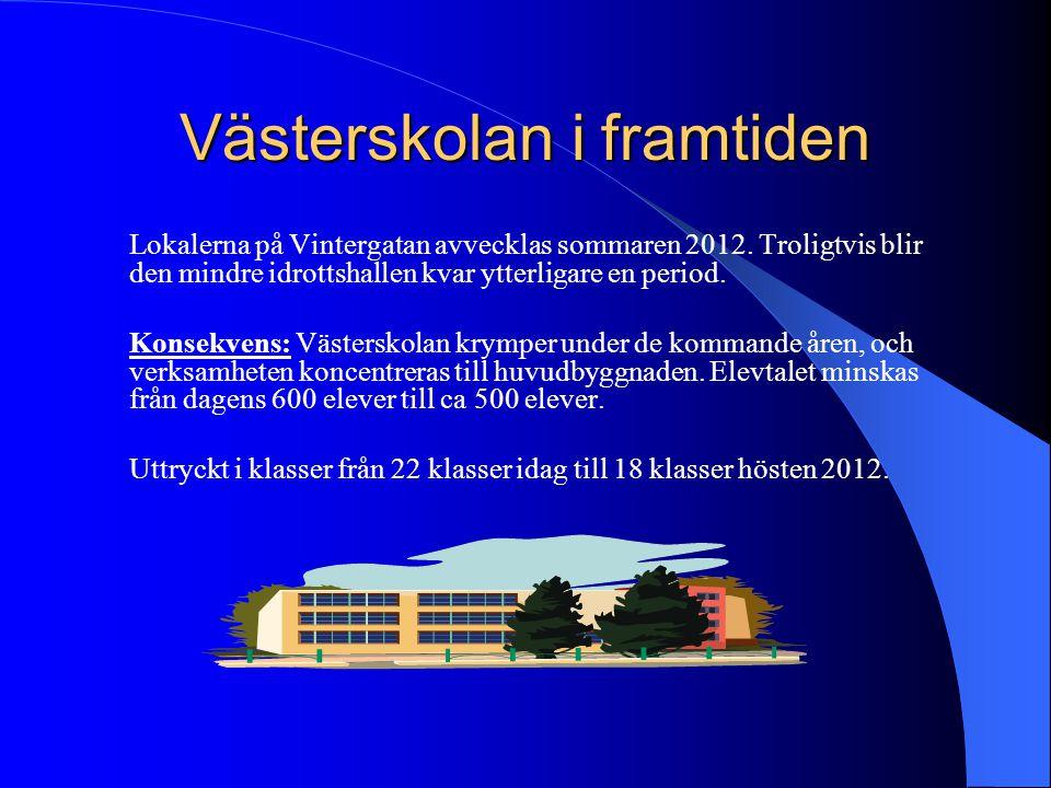Västerskolan i framtiden Lokalerna på Vintergatan avvecklas sommaren 2012. Troligtvis blir den mindre idrottshallen kvar ytterligare en period. Konsek