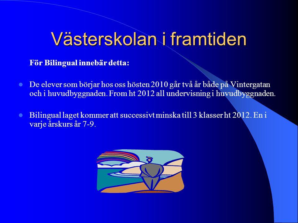 Västerskolan i framtiden För Bilingual innebär detta: De elever som börjar hos oss hösten 2010 går två år både på Vintergatan och i huvudbyggnaden. Fr