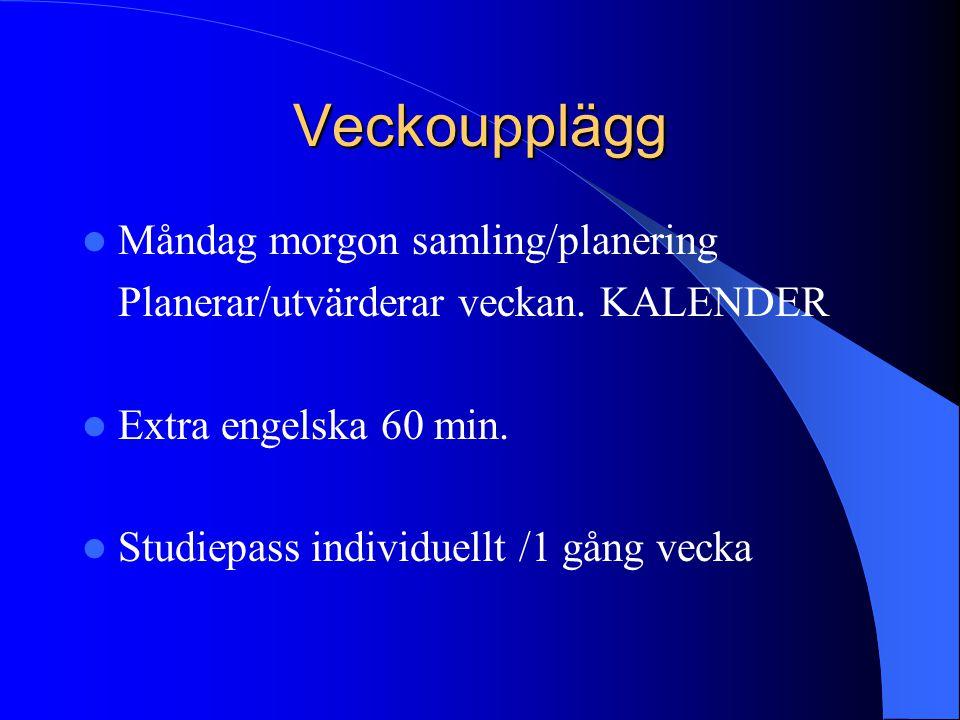 Veckoupplägg Måndag morgon samling/planering Planerar/utvärderar veckan. KALENDER Extra engelska 60 min. Studiepass individuellt /1 gång vecka