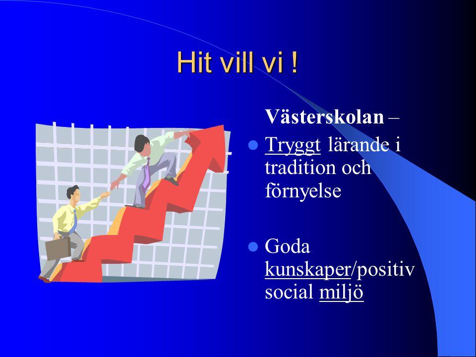 Hit vill vi ! Västerskolan – Tryggt lärande i tradition och förnyelse Goda kunskaper/positiv social miljö