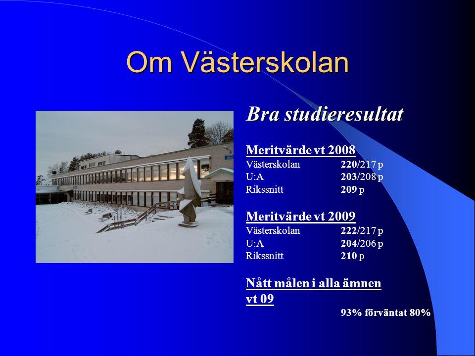Om Västerskolan Bra studieresultat Meritvärde vt 2008 Västerskolan 220/217 p U:A 203/208 p Rikssnitt209 p Meritvärde vt 2009 Västerskolan 222/217 p U: