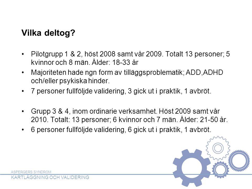 ASPERGERS SYNDROM KARTLÄGGNING OCH VALIDERING Vilka deltog? Pilotgrupp 1 & 2, höst 2008 samt vår 2009. Totalt 13 personer; 5 kvinnor och 8 män. Ålder: