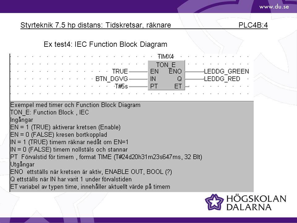 Styrteknik 7.5 hp distans: Tidskretsar, räknare PLC4B:4 Ex test4: IEC Function Block Diagram