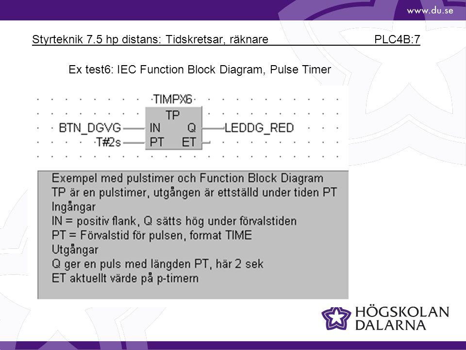 Styrteknik 7.5 hp distans: Tidskretsar, räknare PLC4B:7 Ex test6: IEC Function Block Diagram, Pulse Timer