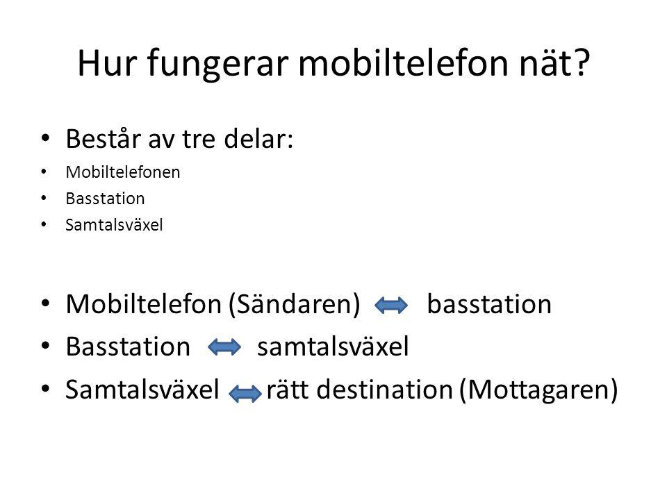 Mobiltelefonens Nät MTA (Mobil Telefoni system A) MTB (Mobil Telefon system B) MTC (Mobil Telefon system C) MTD (Mobil Telefon system D) NMT (Nordiskt Mobiltelefonsystem) GSM (Global System for Mobile Communications) 3G (Tredje Generationen mobilsystem) 4G?