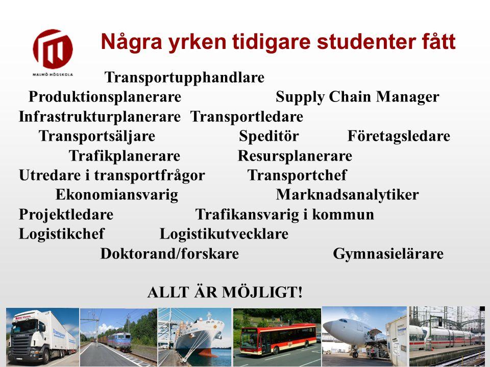 Transportupphandlare Produktionsplanerare Supply Chain Manager Infrastrukturplanerare Transportledare Transportsäljare SpeditörFöretagsledare Trafikpl