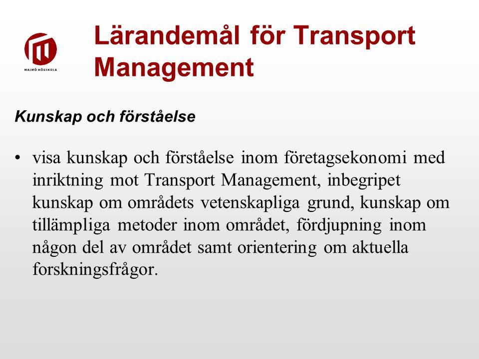Lärandemål för Transport Management Kunskap och förståelse visa kunskap och förståelse inom företagsekonomi med inriktning mot Transport Management, inbegripet kunskap om områdets vetenskapliga grund, kunskap om tillämpliga metoder inom området, fördjupning inom någon del av området samt orientering om aktuella forskningsfrågor.
