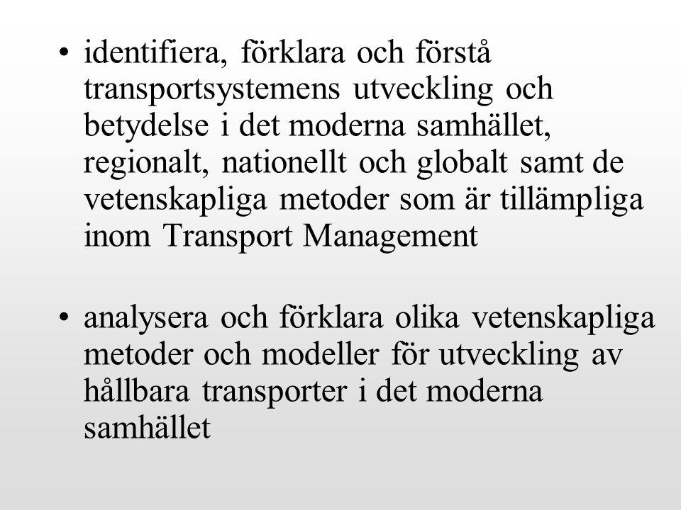 identifiera, förklara och förstå transportsystemens utveckling och betydelse i det moderna samhället, regionalt, nationellt och globalt samt de vetenskapliga metoder som är tillämpliga inom Transport Management analysera och förklara olika vetenskapliga metoder och modeller för utveckling av hållbara transporter i det moderna samhället