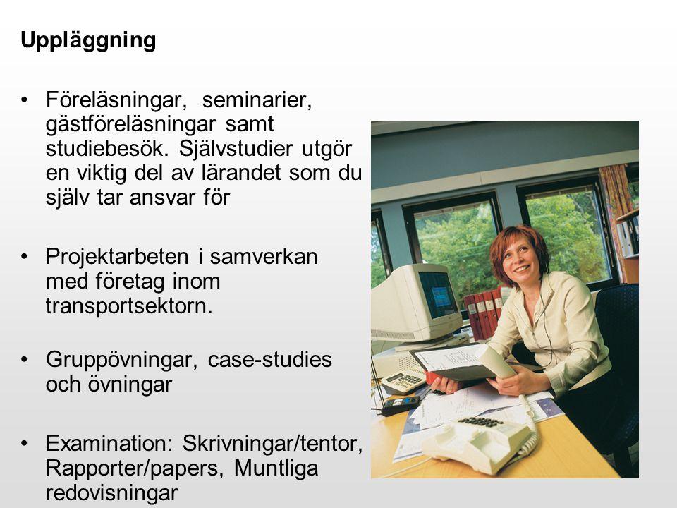 Uppläggning Föreläsningar, seminarier, gästföreläsningar samt studiebesök.