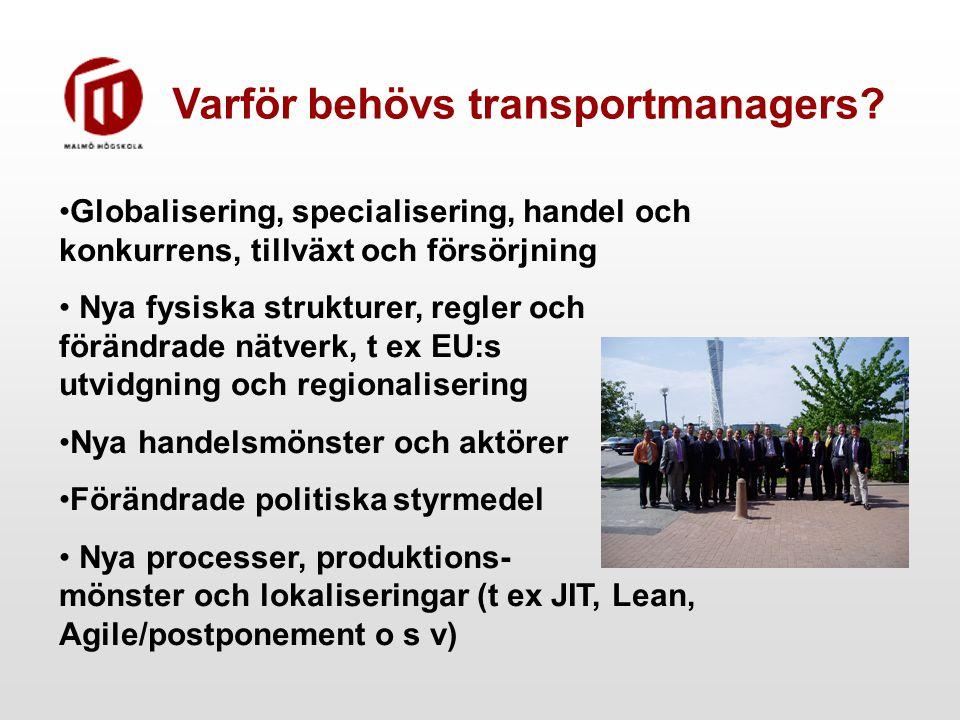 Varför behövs transportmanagers? Globalisering, specialisering, handel och konkurrens, tillväxt och försörjning Nya fysiska strukturer, regler och för