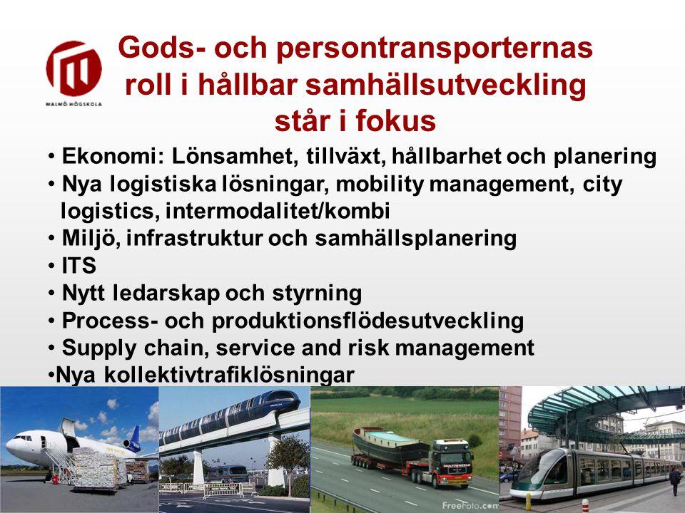Gods- och persontransporternas roll i hållbar samhällsutveckling står i fokus Ekonomi: Lönsamhet, tillväxt, hållbarhet och planering Nya logistiska lösningar, mobility management, city logistics, intermodalitet/kombi Miljö, infrastruktur och samhällsplanering ITS Nytt ledarskap och styrning Process- och produktionsflödesutveckling Supply chain, service and risk management Nya kollektivtrafiklösningar