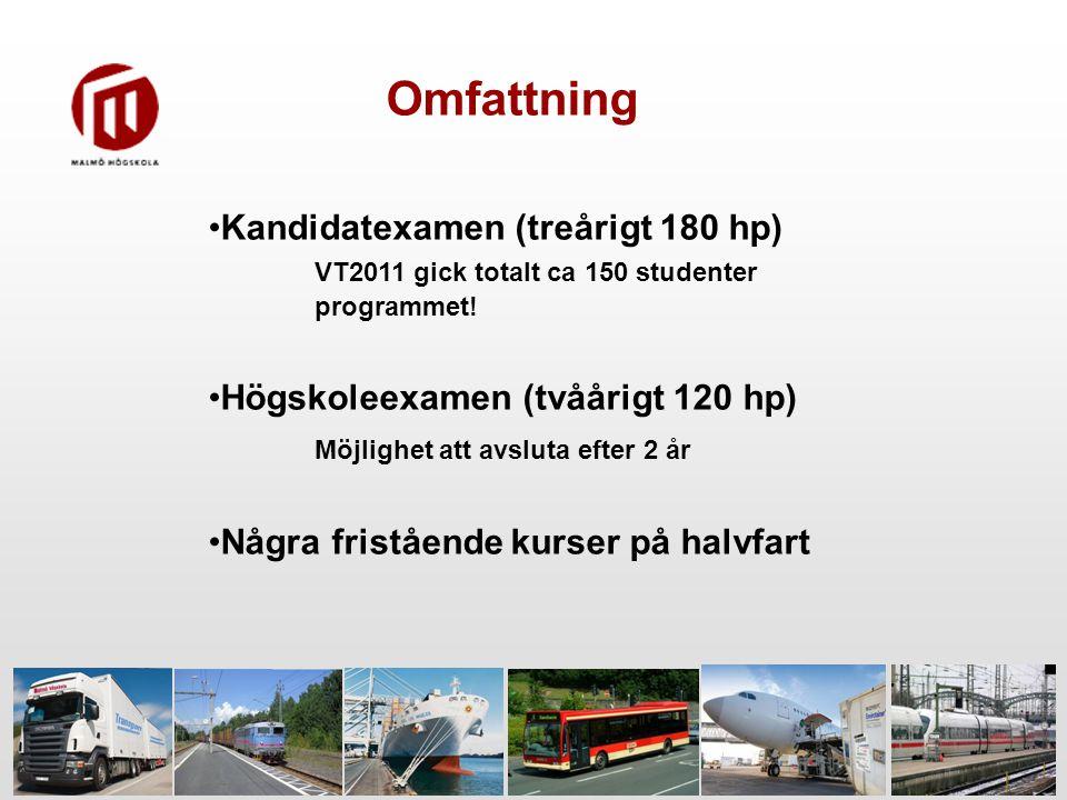 Omfattning Kandidatexamen (treårigt 180 hp) VT2011 gick totalt ca 150 studenter programmet! Högskoleexamen (tvåårigt 120 hp) Möjlighet att avsluta eft