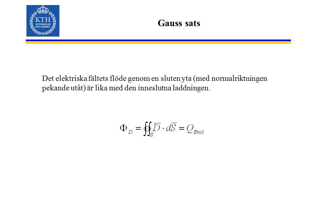 Gauss sats Det elektriska fältets flöde genom en sluten yta (med normalriktningen pekande utåt) är lika med den inneslutna laddningen.