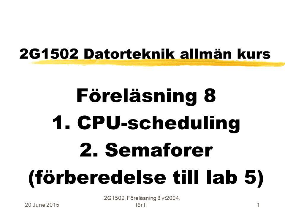 20 June 2015 2G1502, Föreläsning 8 vt2004, för IT102 Laboration 5 CPU-scheduling / semaforer zIdle-tråd kan göra Yield zProducer skriver primtal till FIFO zConsumer läser primtal från FIFO zAntal Producers varieras zAntal Consumers varieras zAntal platser i FIFO varieras zBeteende vid WAIT varieras