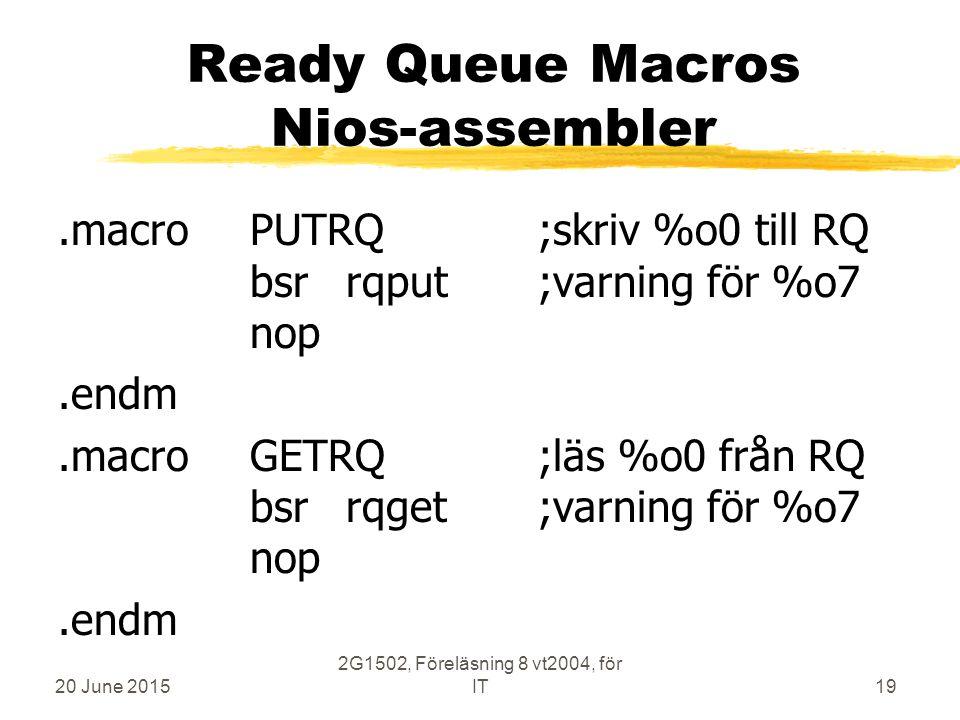 20 June 2015 2G1502, Föreläsning 8 vt2004, för IT19 Ready Queue Macros Nios-assembler.macroPUTRQ;skriv %o0 till RQ bsrrqput;varning för %o7 nop.endm.macroGETRQ;läs %o0 från RQ bsrrqget;varning för %o7 nop.endm