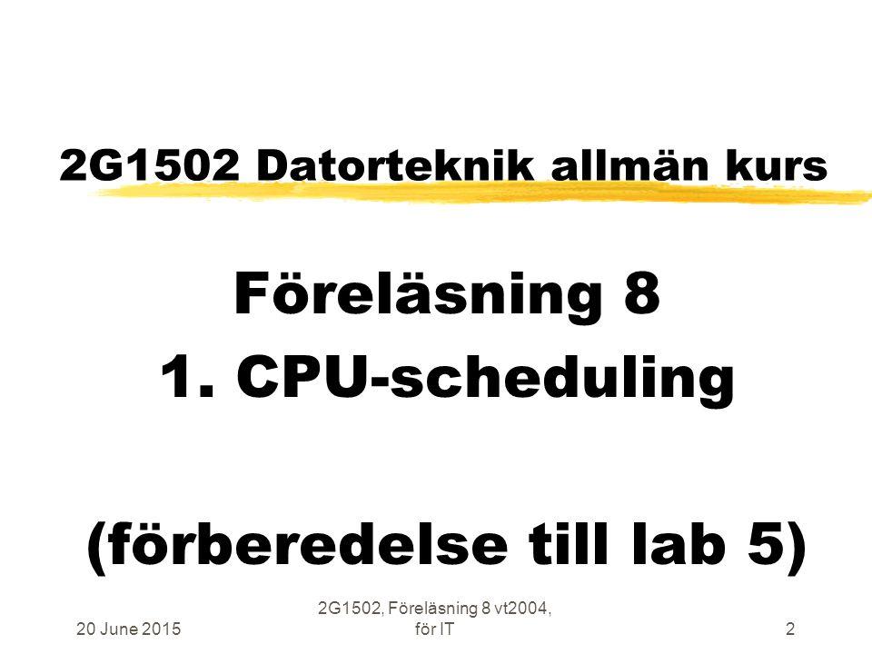 20 June 2015 2G1502, Föreläsning 8 vt2004, för IT23 Kod för context switch mer liknande boken sid 201 zDenna Nios-kod exekveras med IE=0 … mov%sp, %fp;fixa till SP från FP SAVEPCB;spara PCB på lokal stack, Nios-kod mov%o0, %sp;%sp som parameter bsrITS_scheduler;PUTRQ och GETRQ i C-kod mov%sp, %o0 UNSAVEPCB;kopiera PCB till processorn, Nios-kod tret%07;gör återstart av ny tråd