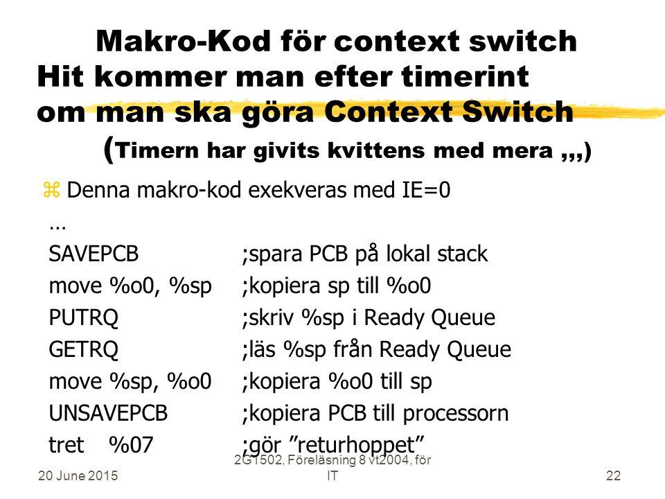 20 June 2015 2G1502, Föreläsning 8 vt2004, för IT22 Makro-Kod för context switch Hit kommer man efter timerint om man ska göra Context Switch ( Timern har givits kvittens med mera,,,) zDenna makro-kod exekveras med IE=0 … SAVEPCB;spara PCB på lokal stack move %o0, %sp;kopiera sp till %o0 PUTRQ;skriv %sp i Ready Queue GETRQ ;läs %sp från Ready Queue move %sp, %o0;kopiera %o0 till sp UNSAVEPCB ;kopiera PCB till processorn tret%07 ;gör returhoppet