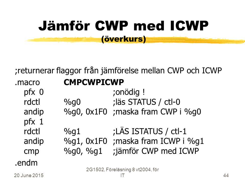 20 June 2015 2G1502, Föreläsning 8 vt2004, för IT44 Jämför CWP med ICWP (överkurs) ;returnerar flaggor från jämförelse mellan CWP och ICWP.macroCMPCWPICWP pfx0;onödig .