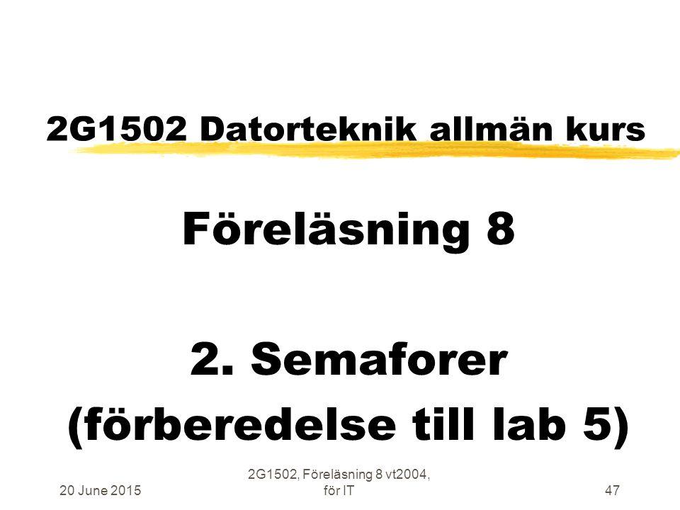 20 June 2015 2G1502, Föreläsning 8 vt2004, för IT47 2G1502 Datorteknik allmän kurs Föreläsning 8 2.