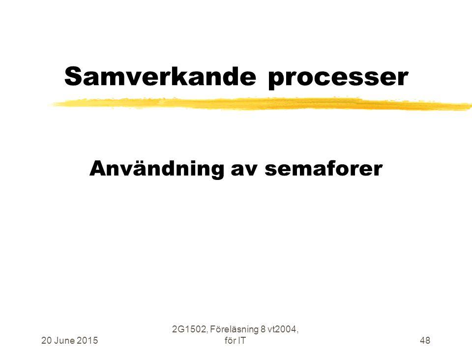 20 June 2015 2G1502, Föreläsning 8 vt2004, för IT48 Samverkande processer Användning av semaforer