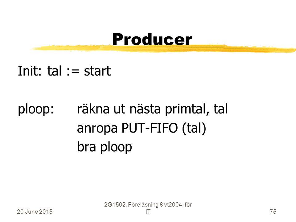 20 June 2015 2G1502, Föreläsning 8 vt2004, för IT75 Producer Init:tal := start ploop:räkna ut nästa primtal, tal anropa PUT-FIFO (tal) bra ploop