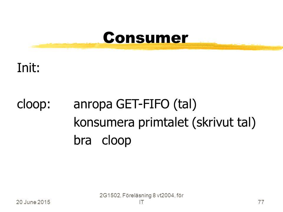 20 June 2015 2G1502, Föreläsning 8 vt2004, för IT77 Consumer Init: cloop:anropa GET-FIFO (tal) konsumera primtalet (skrivut tal) bracloop