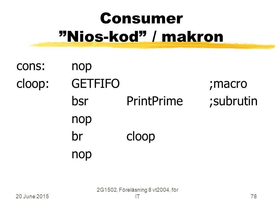 20 June 2015 2G1502, Föreläsning 8 vt2004, för IT78 Consumer Nios-kod / makron cons:nop cloop:GETFIFO;macro bsrPrintPrime;subrutin nop brcloop nop
