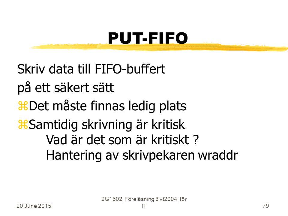 20 June 2015 2G1502, Föreläsning 8 vt2004, för IT79 PUT-FIFO Skriv data till FIFO-buffert på ett säkert sätt zDet måste finnas ledig plats zSamtidig skrivning är kritisk Vad är det som är kritiskt .